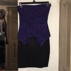 Formal, purple/black, strapless dress